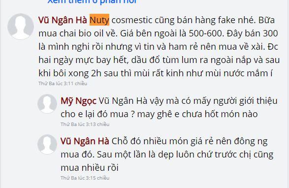 bình luận khách hàng về Nuty Cosmetic 2